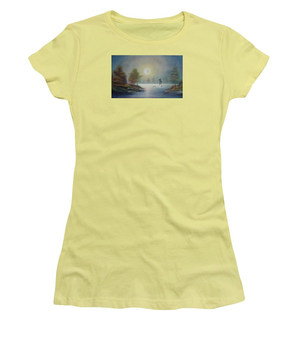 Landscape Women's T-Shirt (Athletic Fit) featuring the painting Monstruo Ness by Angel Ortiz