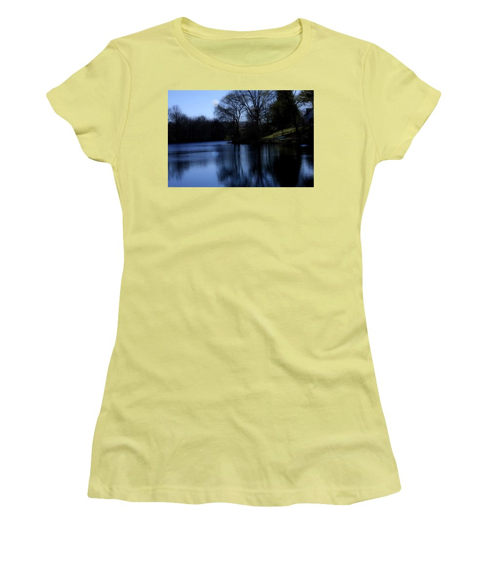 Moon Women's T-Shirt (Athletic Fit) featuring the digital art Moon Over The Charles by Edward Cardini