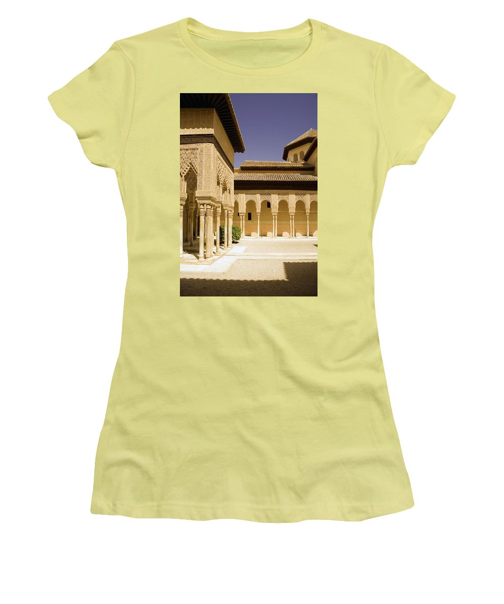 Moorish Women's T-Shirt (Athletic Fit) featuring the photograph Moorish Architecture In The Nasrid Palaces At The Alhambra Granada by Mal Bray