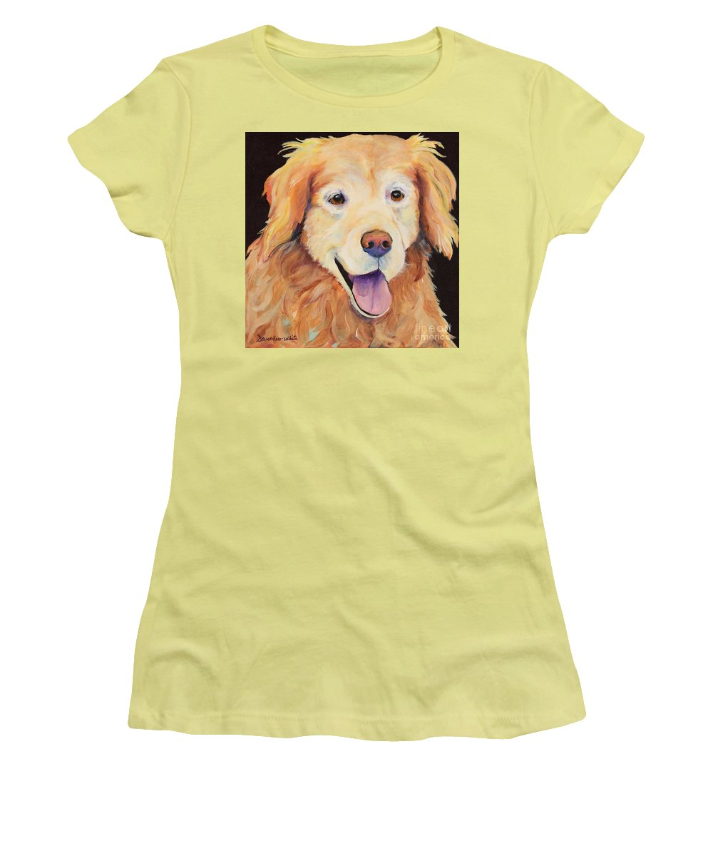 Pet Portraits Women's T-Shirt (Athletic Fit) featuring the painting Moose by Pat Saunders-White