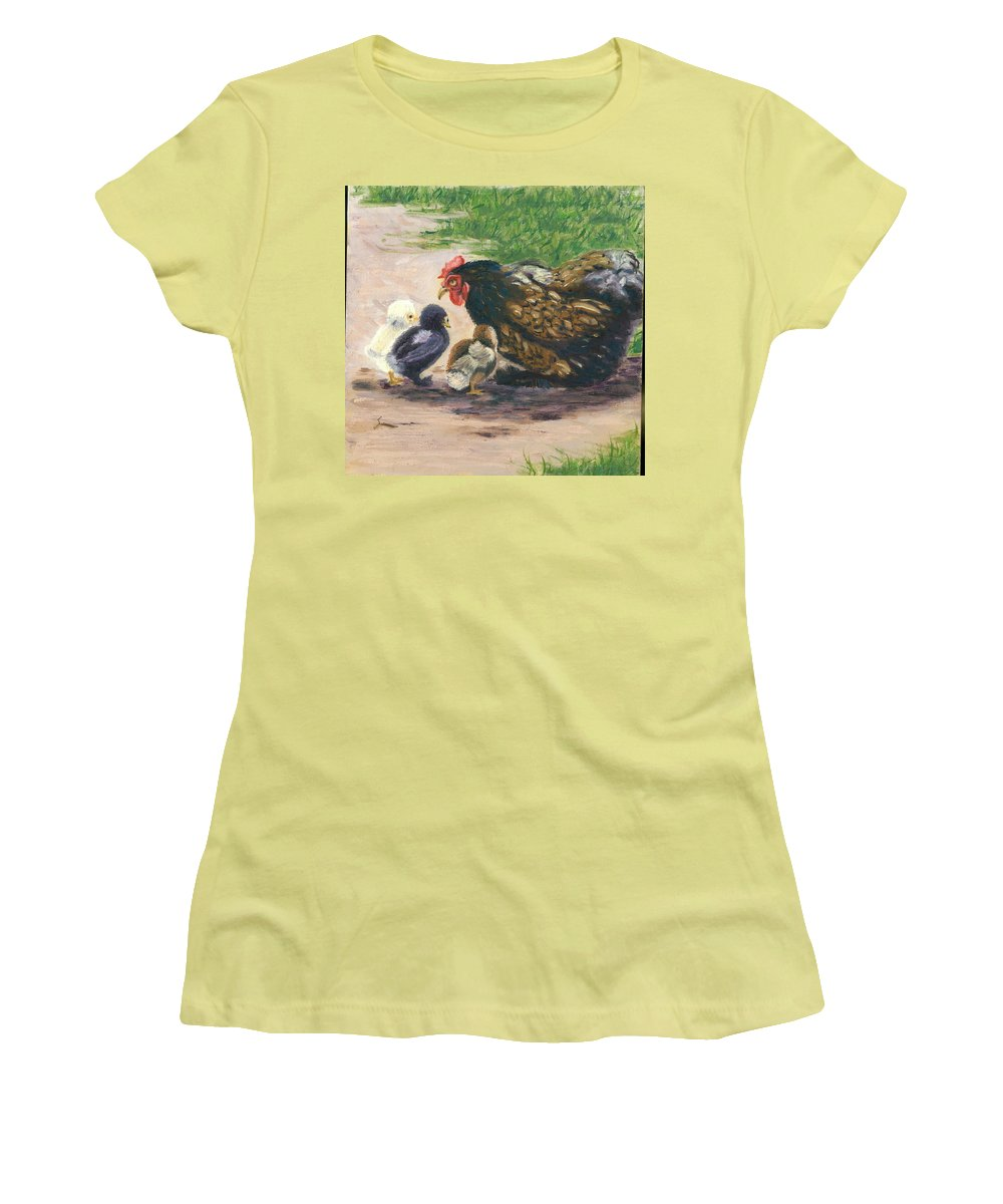 Chickens Women's T-Shirt (Athletic Fit) featuring the painting More Of Life by Paula Emery