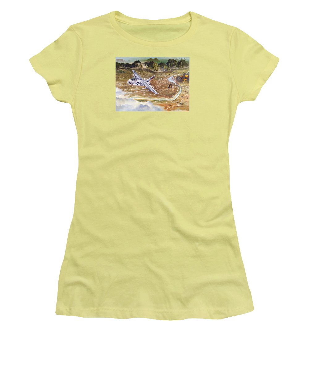 Aviation Women's T-Shirt (Athletic Fit) featuring the painting Mu Gia Mayhem by Marc Stewart