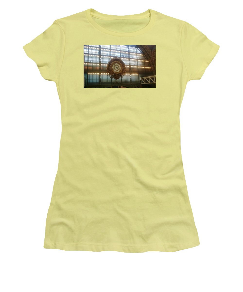 Museum Women's T-Shirt (Athletic Fit) featuring the photograph Museum D'orsay Clock by Valerie Ornstein