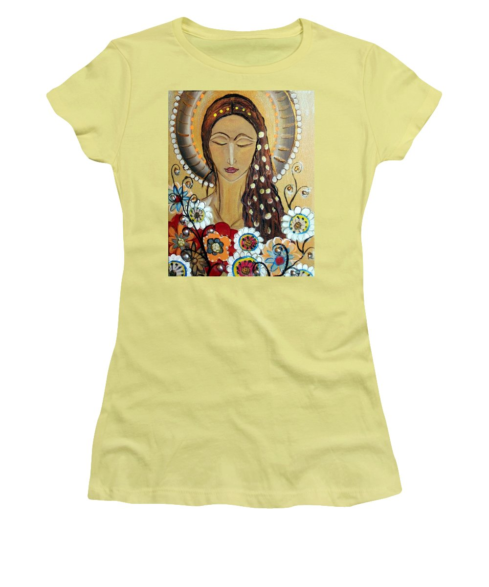 Art Women's T-Shirt (Athletic Fit) featuring the painting My Angel Modern Icon by Luiza Vizoli