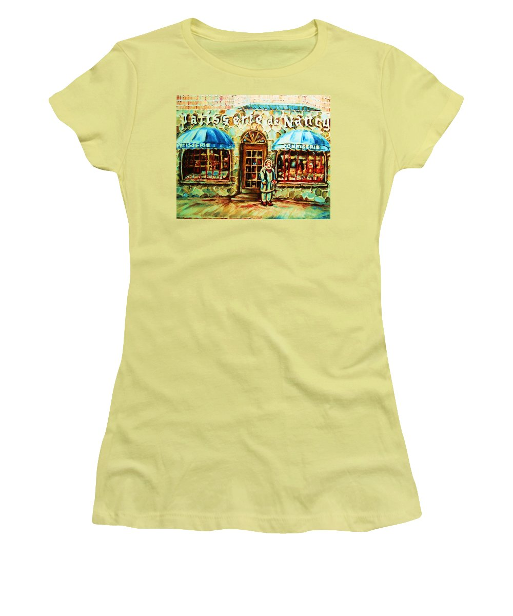 Bakery Shops Women's T-Shirt (Athletic Fit) featuring the painting Nancys Fine Pastries by Carole Spandau
