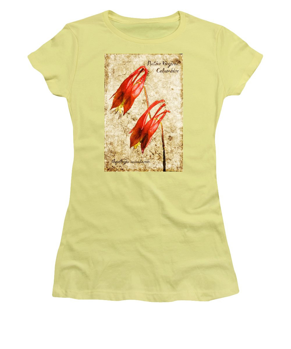 Columbine Women's T-Shirt (Athletic Fit) featuring the digital art Native Virginia Columbine by Teresa Mucha