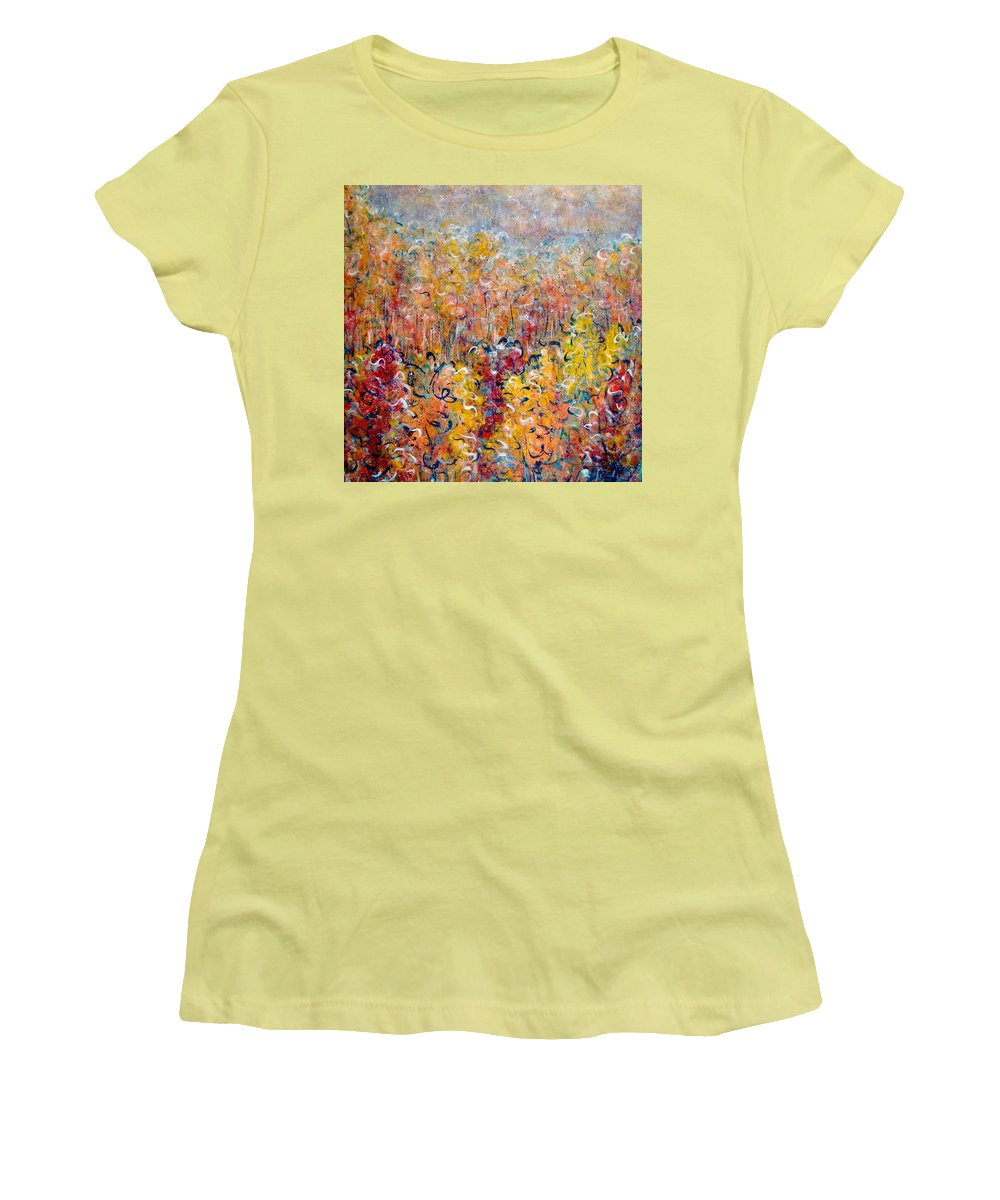 Autumn Women's T-Shirt (Athletic Fit) featuring the painting Nature by Natalie Holland