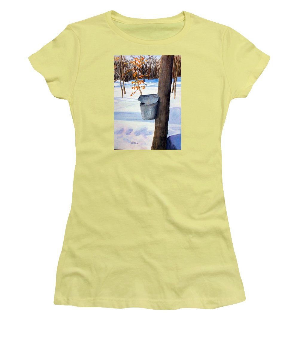 Sap Bucket. Maple Sugaring Women's T-Shirt (Athletic Fit) featuring the painting Nh Goldmine by Sharon E Allen