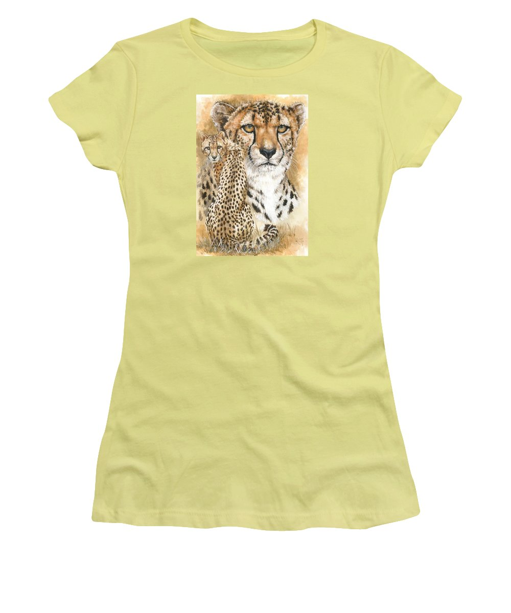 Cheetah Women's T-Shirt (Athletic Fit) featuring the mixed media Nimble by Barbara Keith