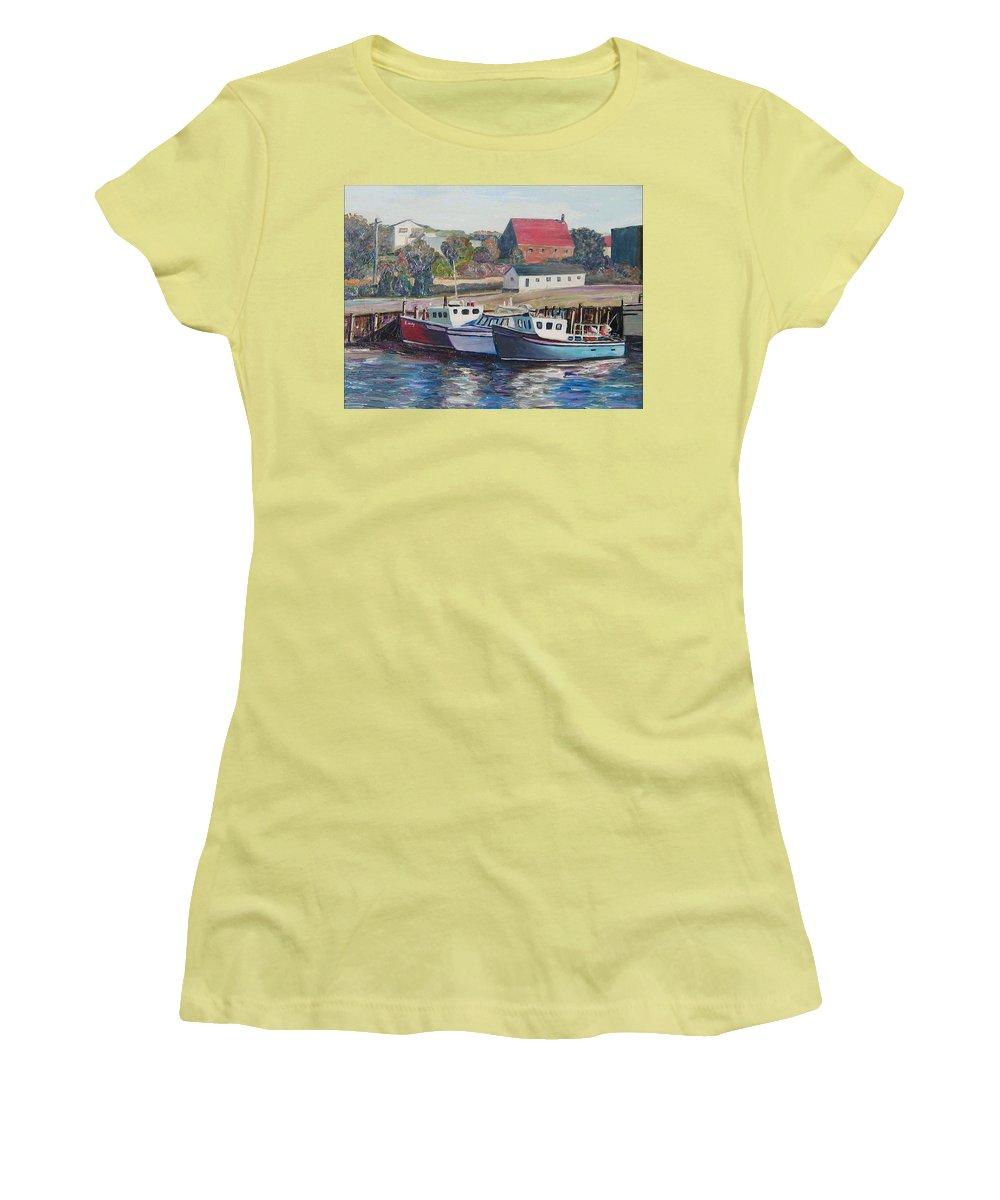 Nova Scotia Women's T-Shirt (Athletic Fit) featuring the painting Nova Scotia Boats by Richard Nowak