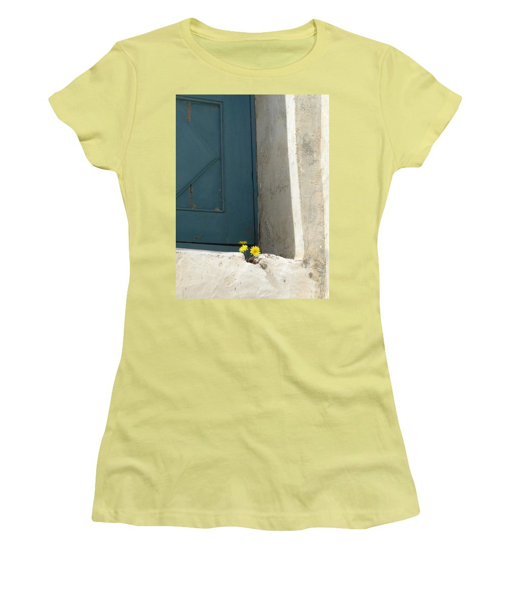 Old Women's T-Shirt (Athletic Fit) featuring the photograph Old Greek Door by Valerie Ornstein