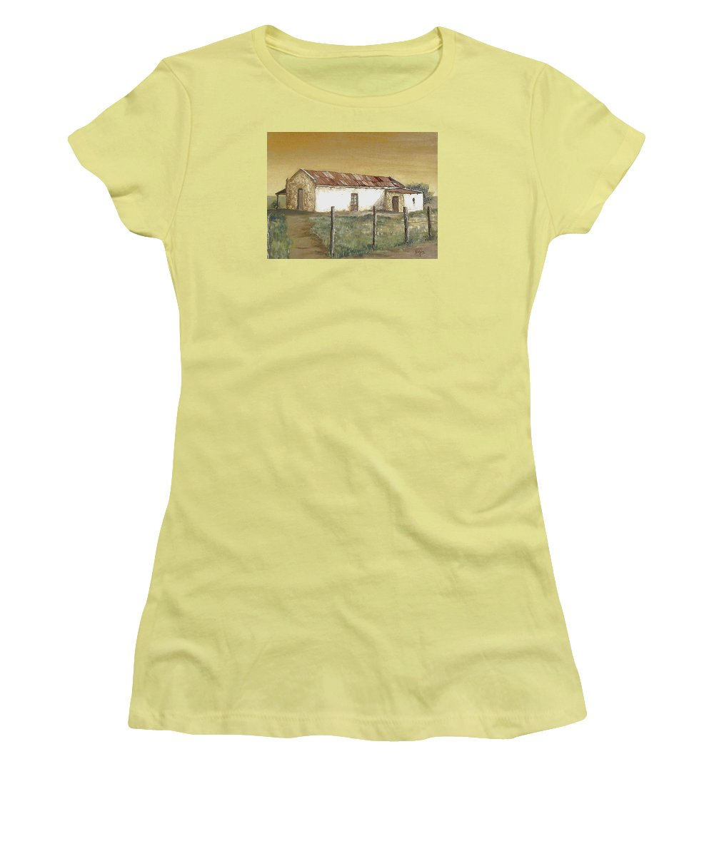 Old House Landscape Country Women's T-Shirt (Athletic Fit) featuring the painting Old House by Natalia Tejera