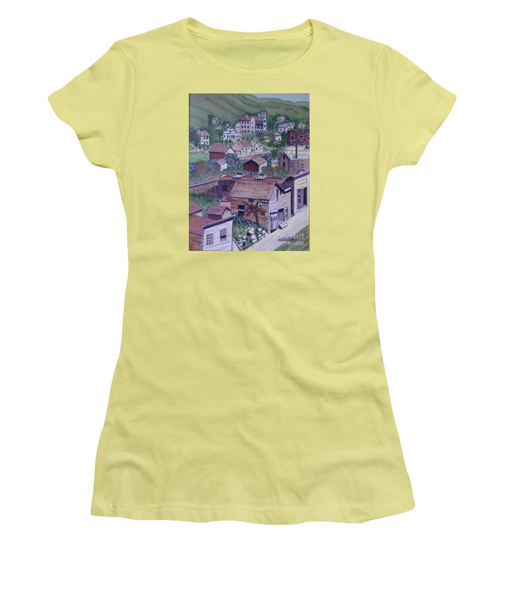 Ventura Women's T-Shirt (Athletic Fit) featuring the painting Old Ventura by Laurie Morgan