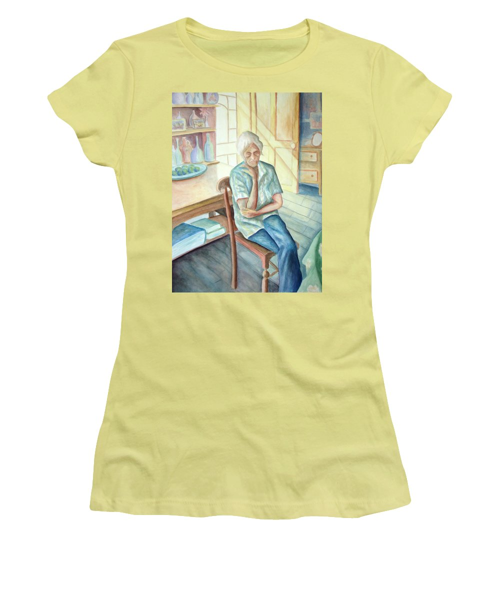 Woman Women's T-Shirt (Athletic Fit) featuring the painting Old Woman by Nancy Mueller
