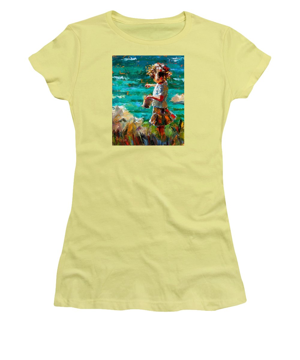 Children Women's T-Shirt (Athletic Fit) featuring the painting One At A Time by Debra Hurd