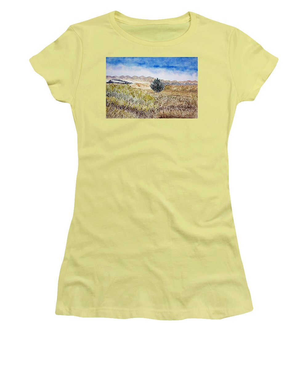 Desert Art Women's T-Shirt (Athletic Fit) featuring the painting Onyo National Forest by Larry Wright