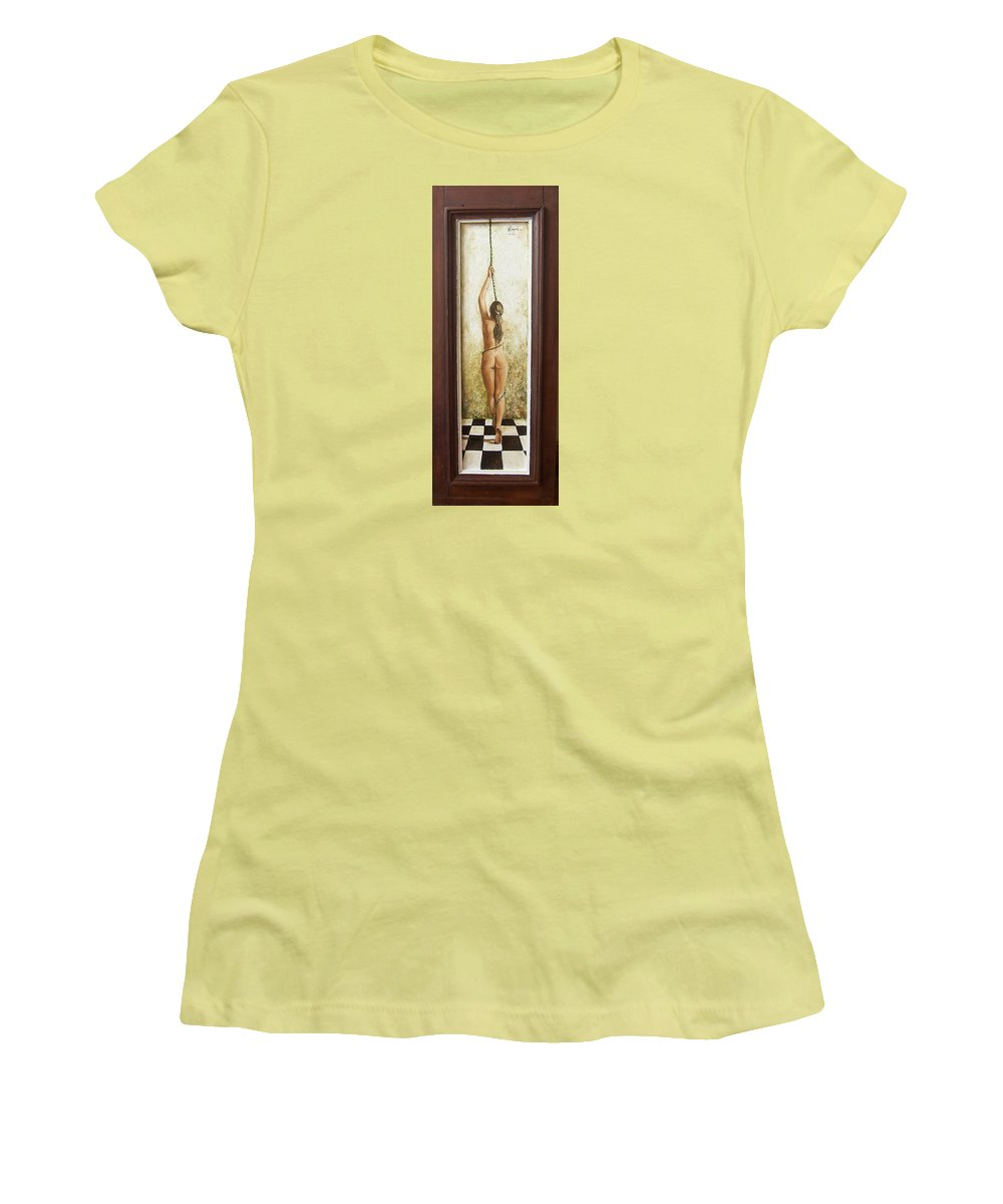 Figurative Women's T-Shirt (Athletic Fit) featuring the painting Out Of Chess by Natalia Tejera