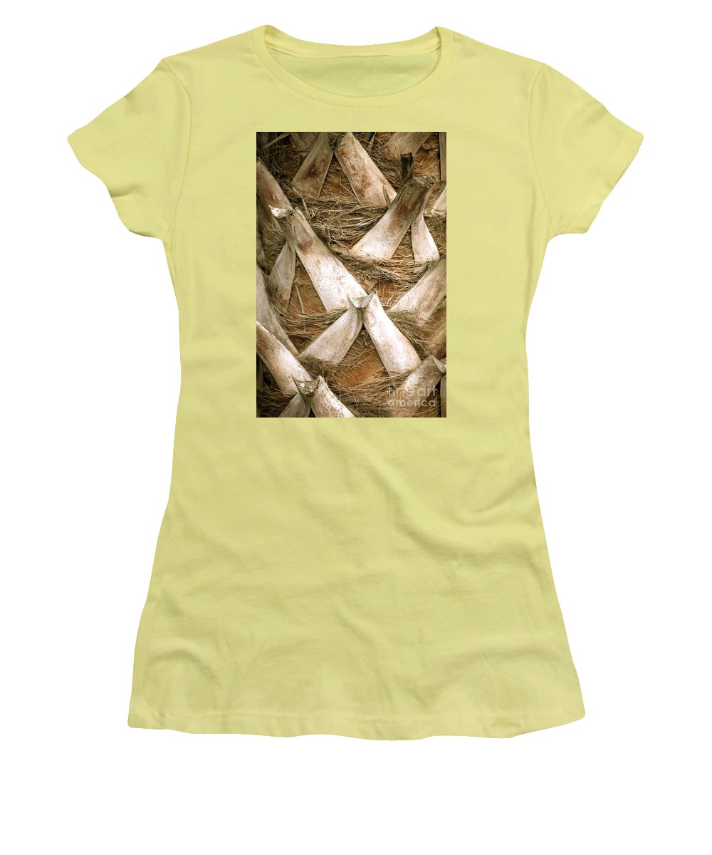 Bark Women's T-Shirt (Athletic Fit) featuring the photograph Palm Tree Bark by Nadine Rippelmeyer