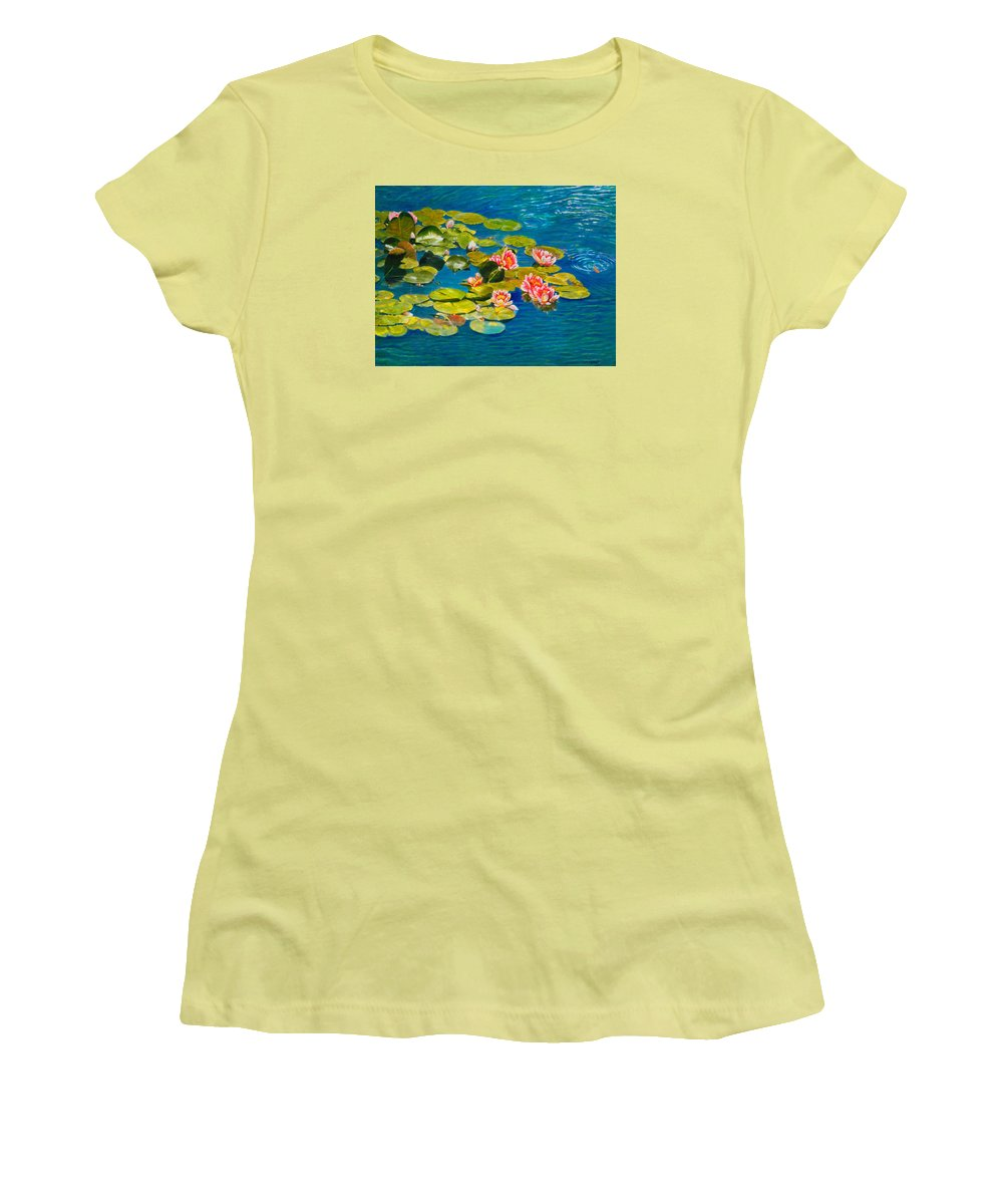 Water Lilies Women's T-Shirt (Athletic Fit) featuring the painting Peaceful Belonging by Michael Durst