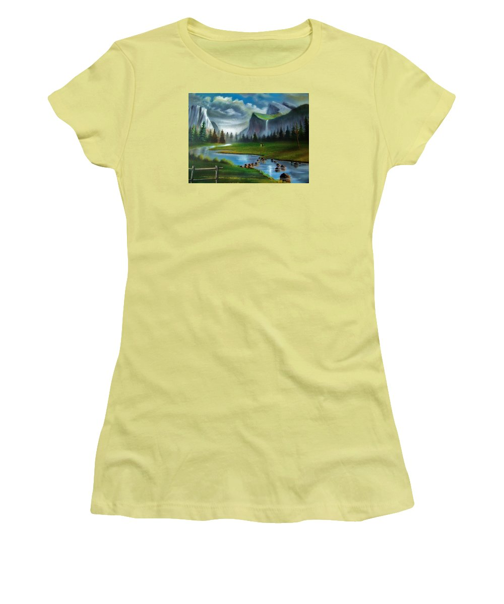 Landscape Women's T-Shirt (Athletic Fit) featuring the painting Peaceful Retreat by Scott Easom
