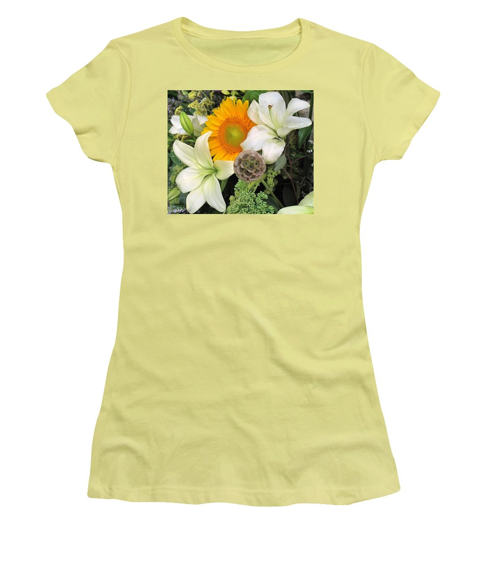 Lillies Women's T-Shirt (Athletic Fit) featuring the photograph Peeking Out by Ian MacDonald