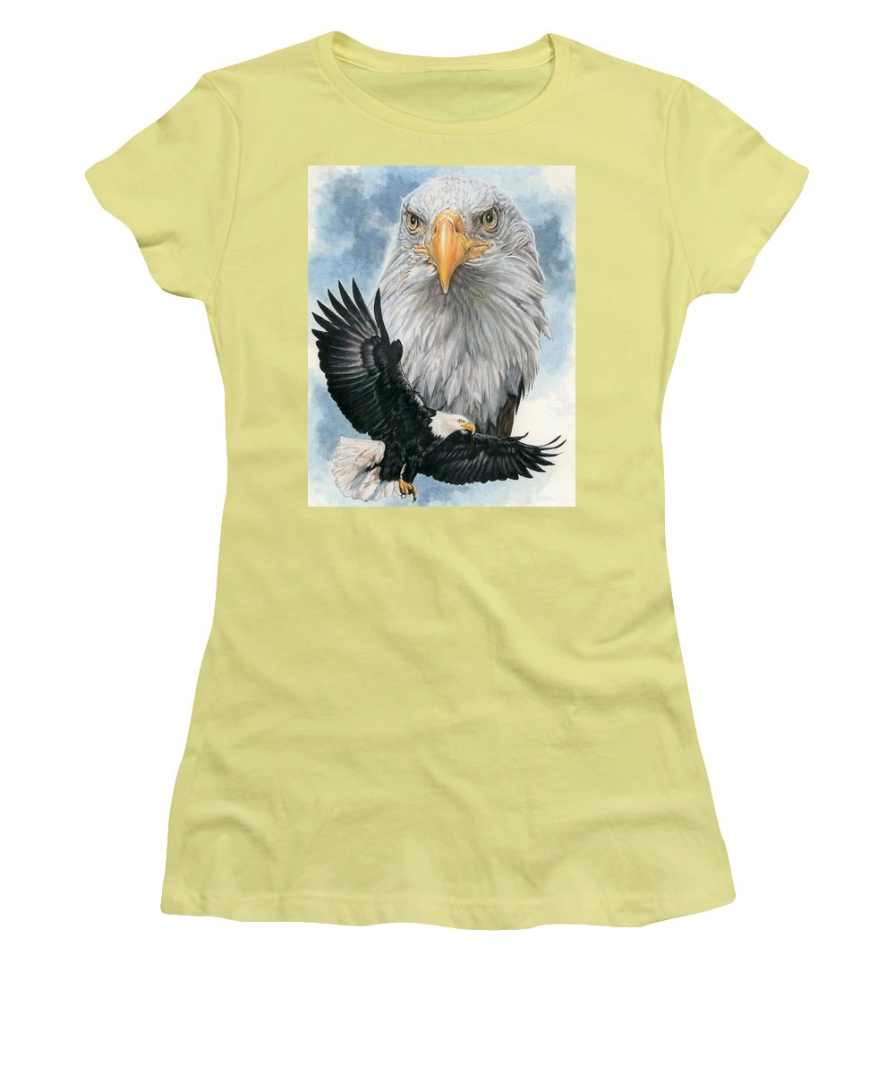 Bald Eagle Women's T-Shirt (Athletic Fit) featuring the mixed media Peerless by Barbara Keith