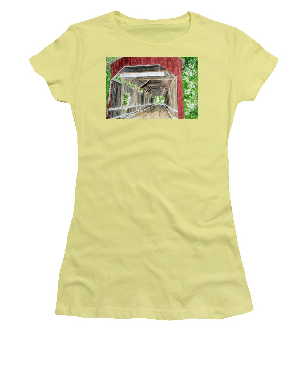 Covered Bridge Art Women's T-Shirt (Athletic Fit) featuring the painting Pennsylvania Inside And Out by Larry Wright