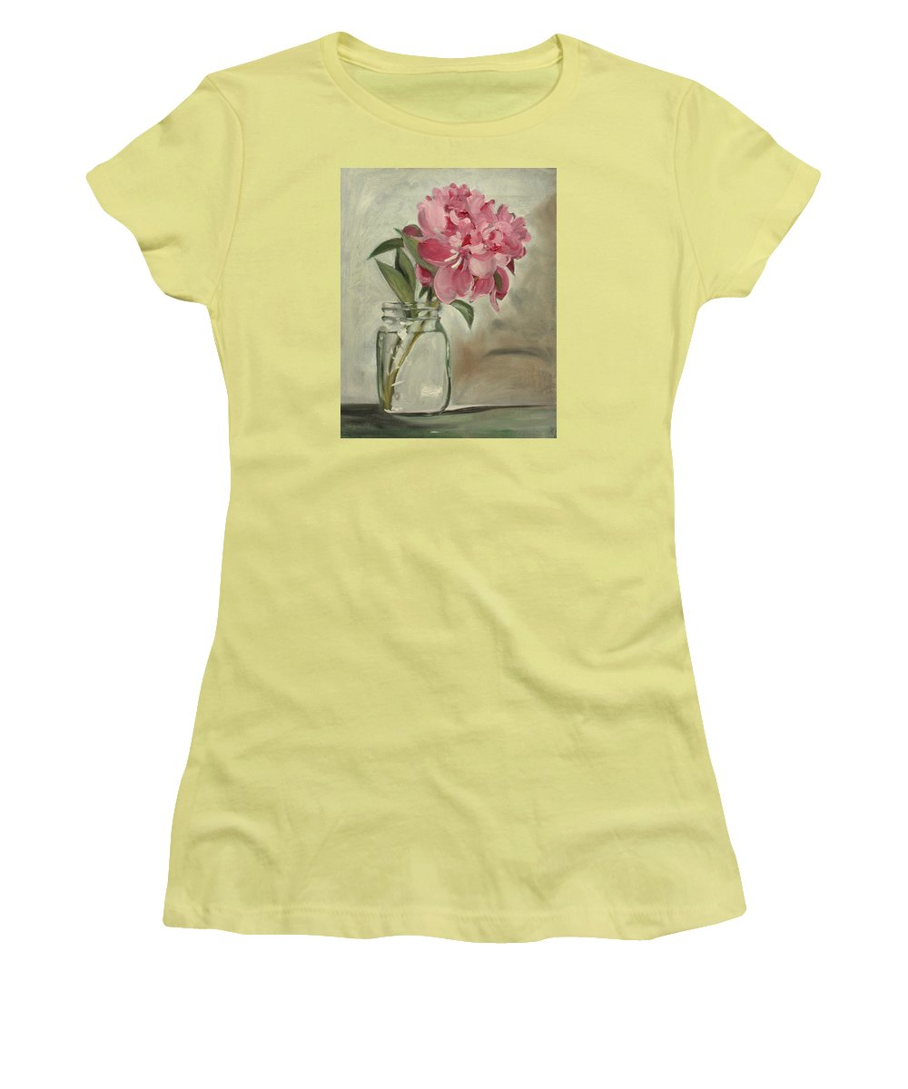 Still-life Women's T-Shirt (Athletic Fit) featuring the painting Peony by Sarah Lynch