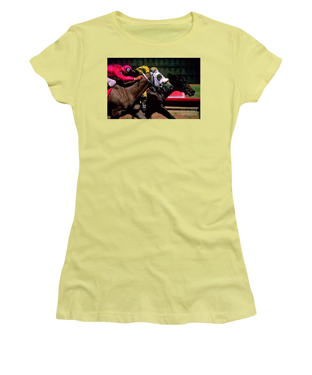 Horse Women's T-Shirt (Athletic Fit) featuring the photograph Photo Finish by Kathy McClure