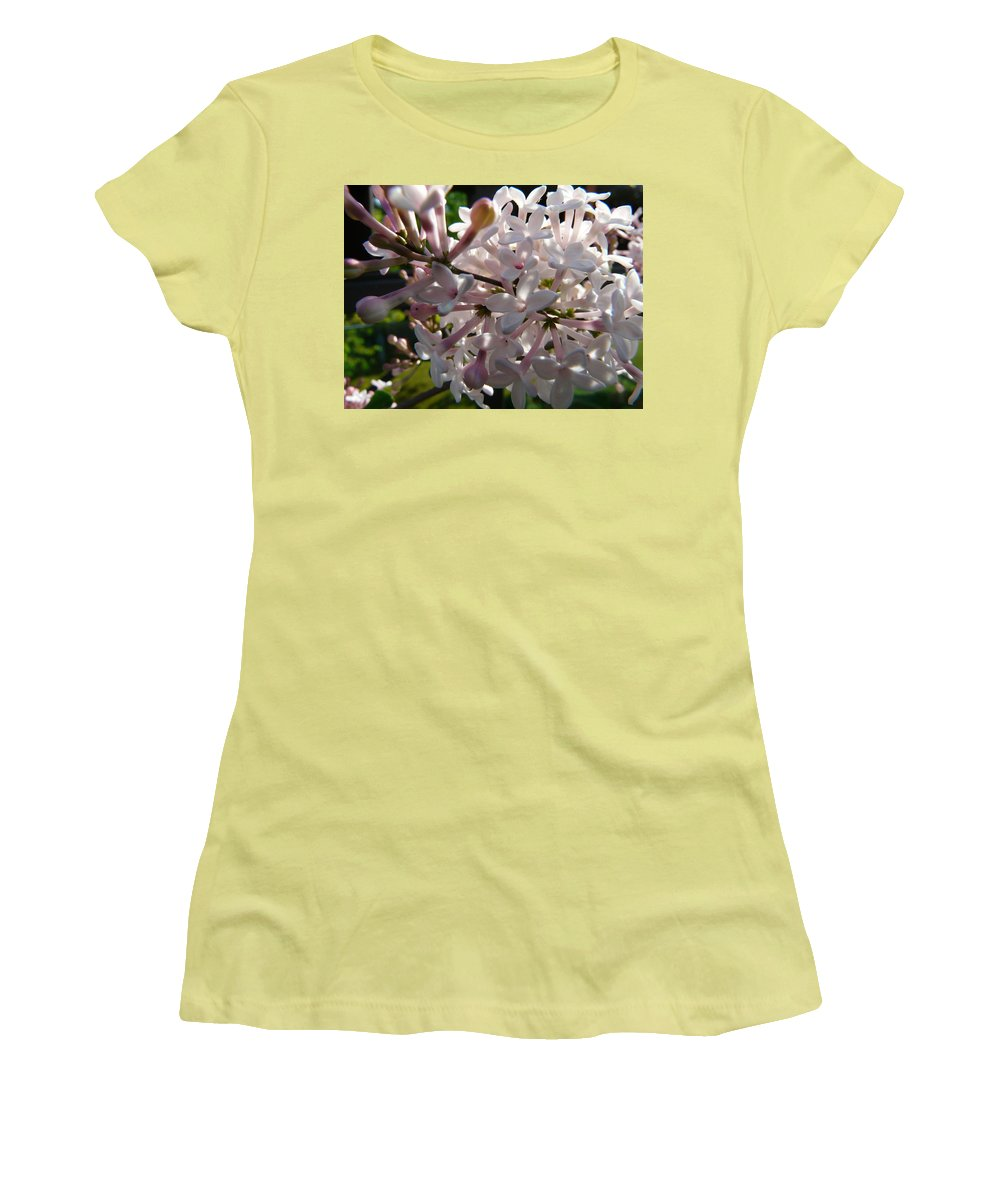 Flower Women's T-Shirt (Athletic Fit) featuring the photograph Pink Lilac Blossom by Valerie Ornstein