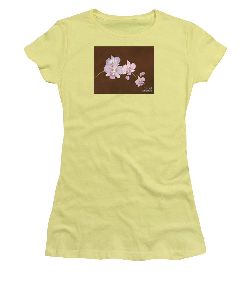 Orchid Women's T-Shirt (Athletic Fit) featuring the painting Pink Orchids by Shawn Stallings