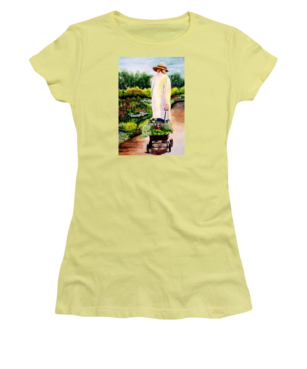 Garden Women's T-Shirt (Athletic Fit) featuring the painting Planting Plans by Karen Stark
