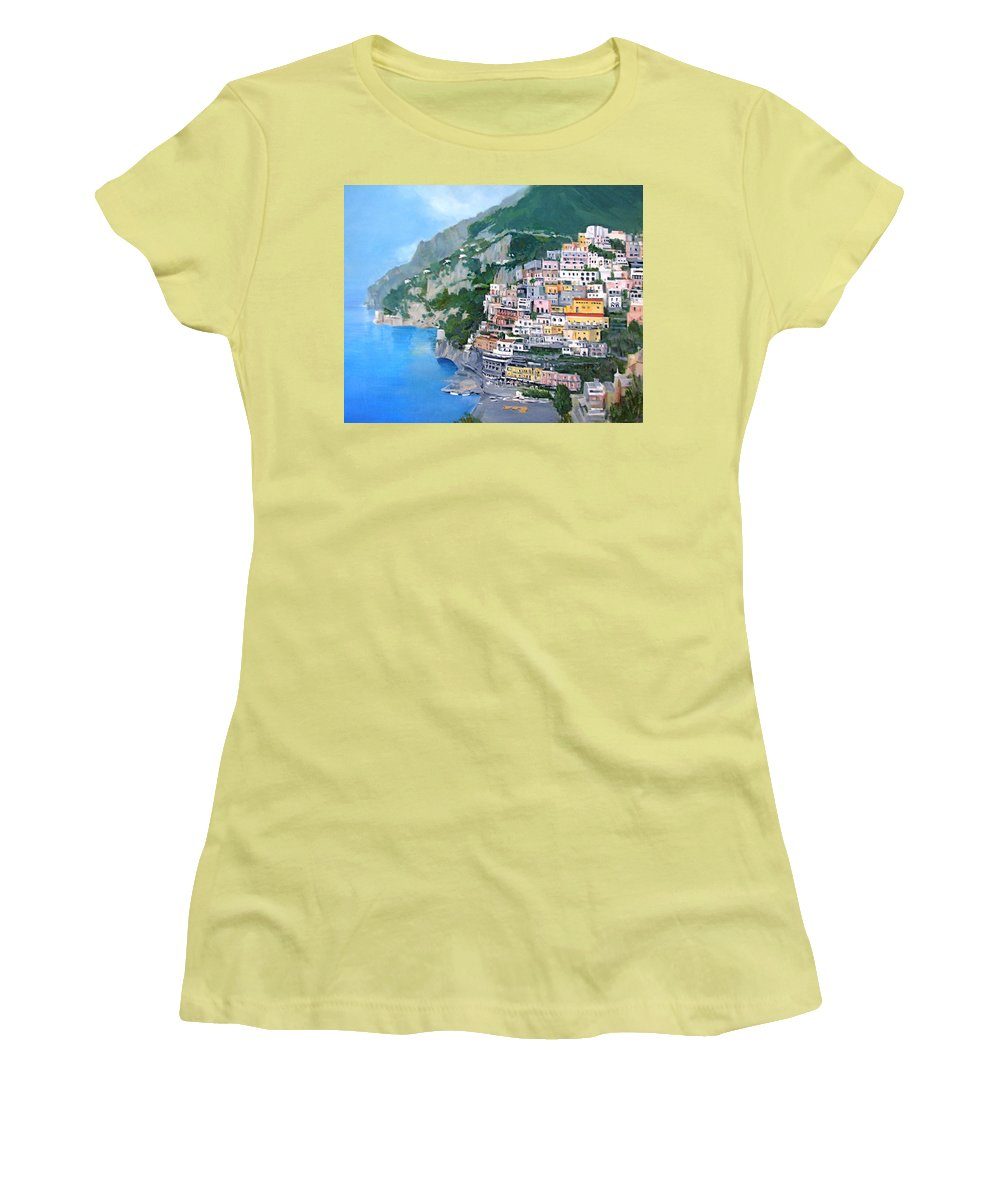 Coast Women's T-Shirt (Athletic Fit) featuring the painting Positano by Neal Smith-Willow