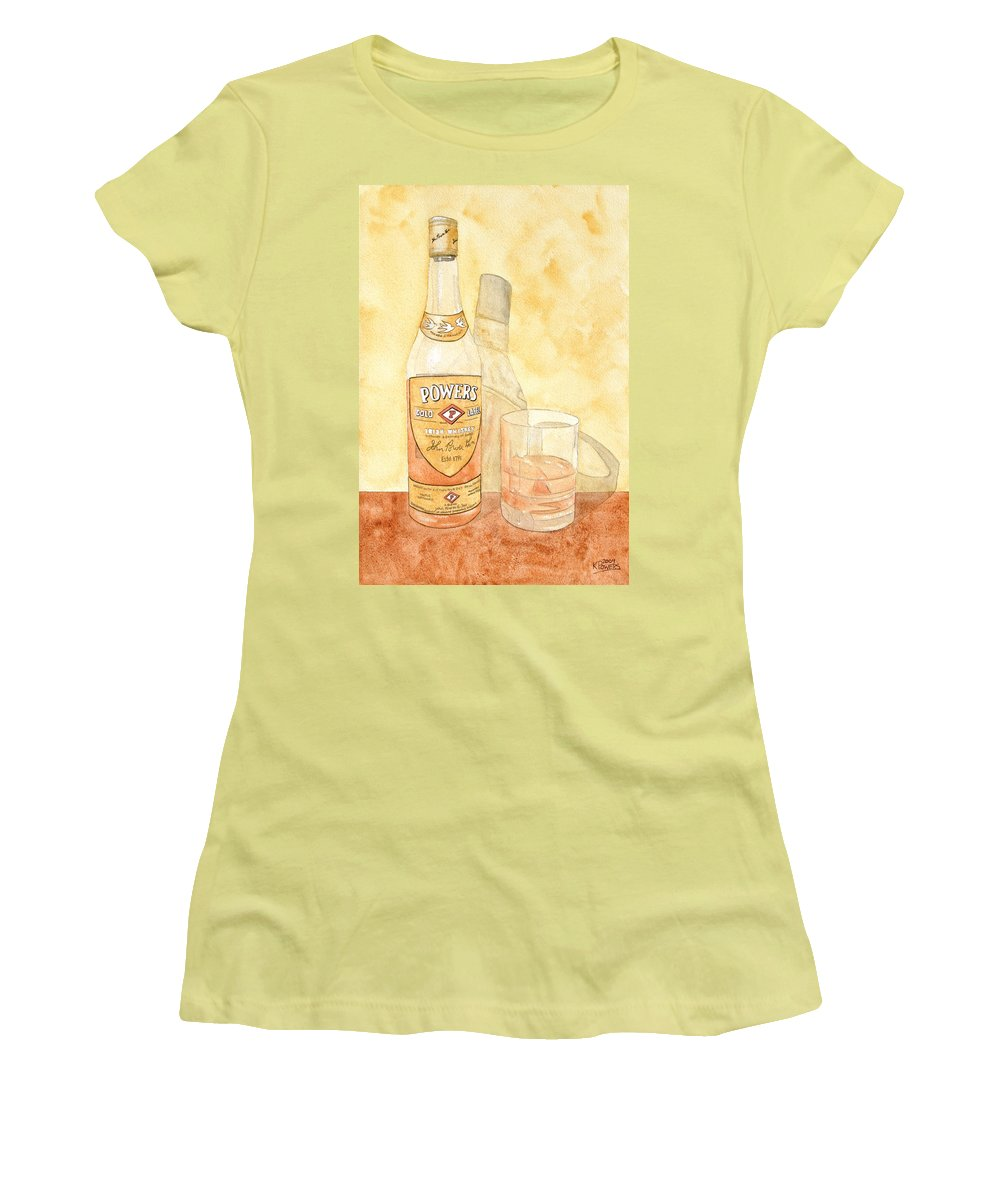 Irish Women's T-Shirt (Athletic Fit) featuring the painting Powers Irish Whiskey by Ken Powers
