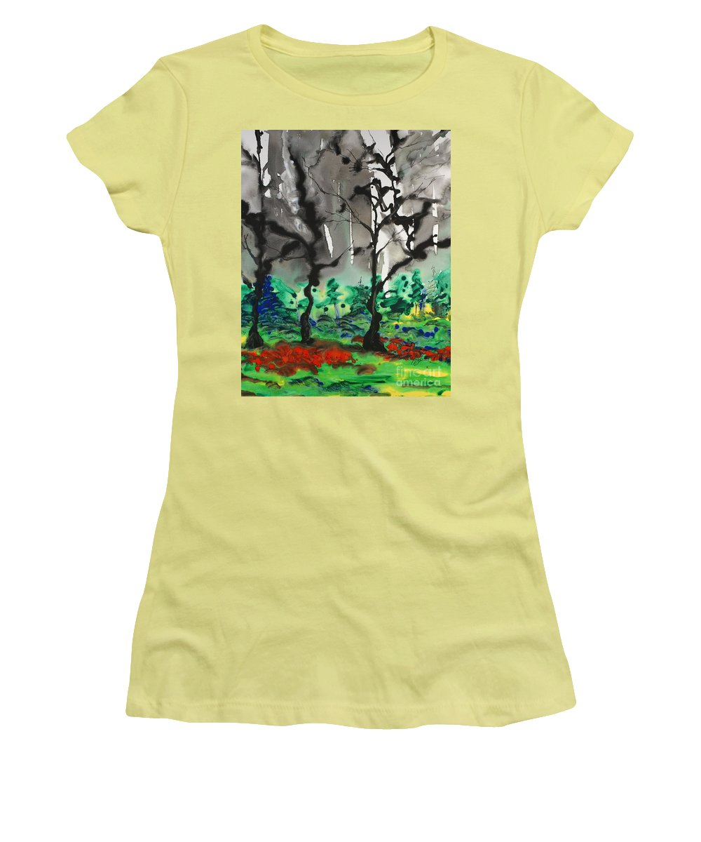 Forest Women's T-Shirt (Athletic Fit) featuring the painting Primary Forest by Nadine Rippelmeyer