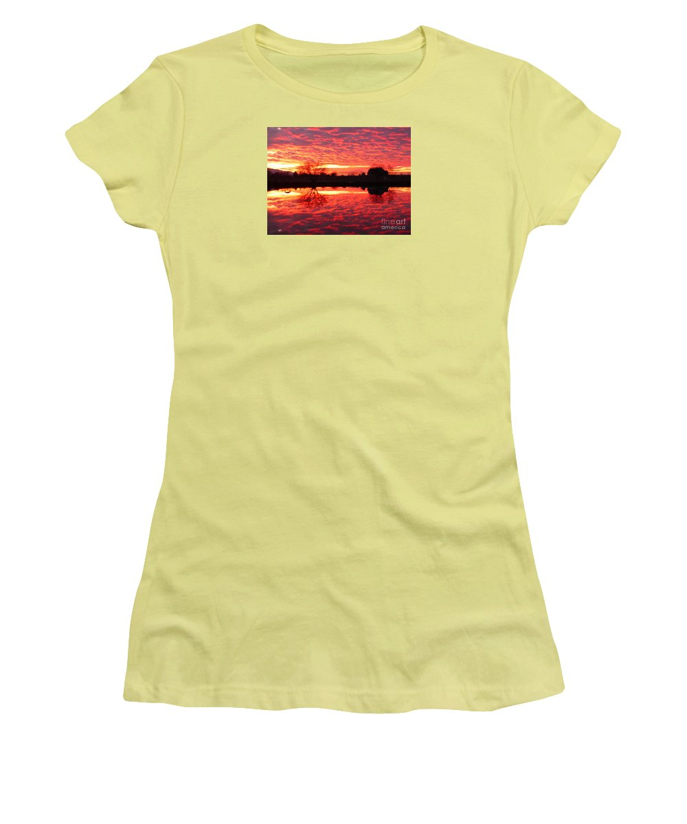 Orange Women's T-Shirt (Athletic Fit) featuring the photograph Dramatic Orange Sunset by Carol Groenen
