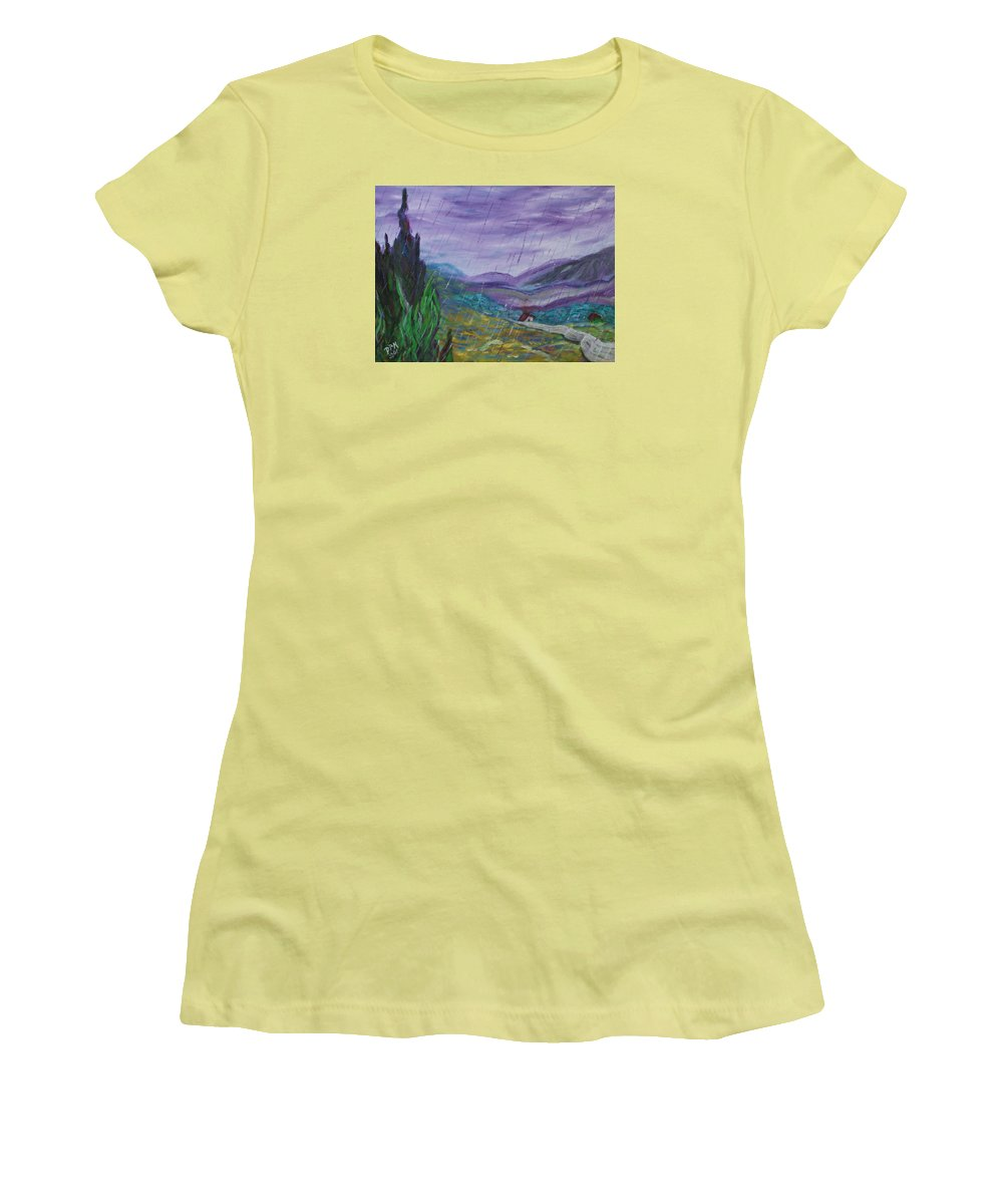 Rain Women's T-Shirt (Athletic Fit) featuring the painting Rain by David McGhee