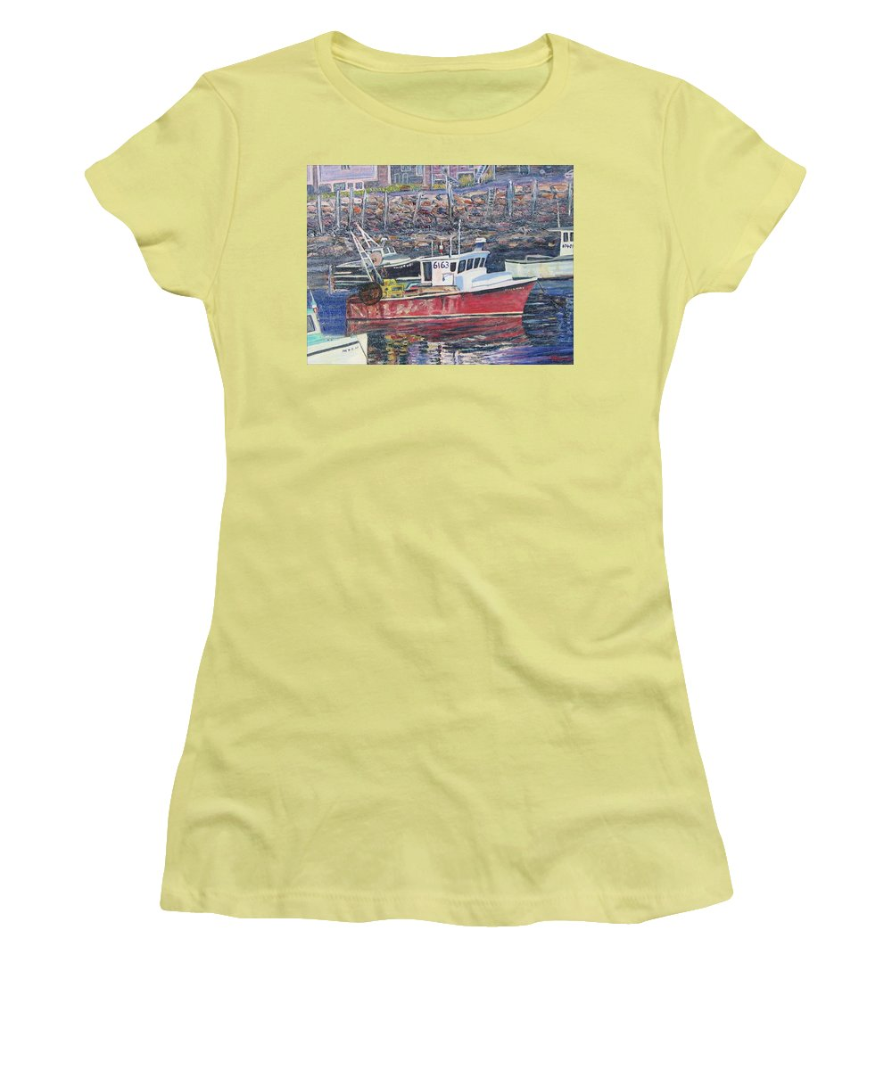 Boat Women's T-Shirt (Athletic Fit) featuring the painting Red Boat Reflections by Richard Nowak
