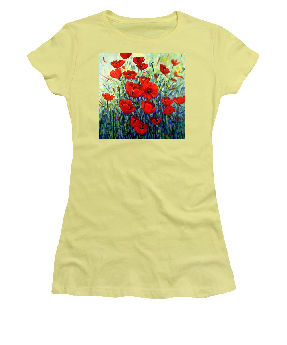 Floral Women's T-Shirt (Athletic Fit) featuring the painting Red Poppies by Georgia Mansur