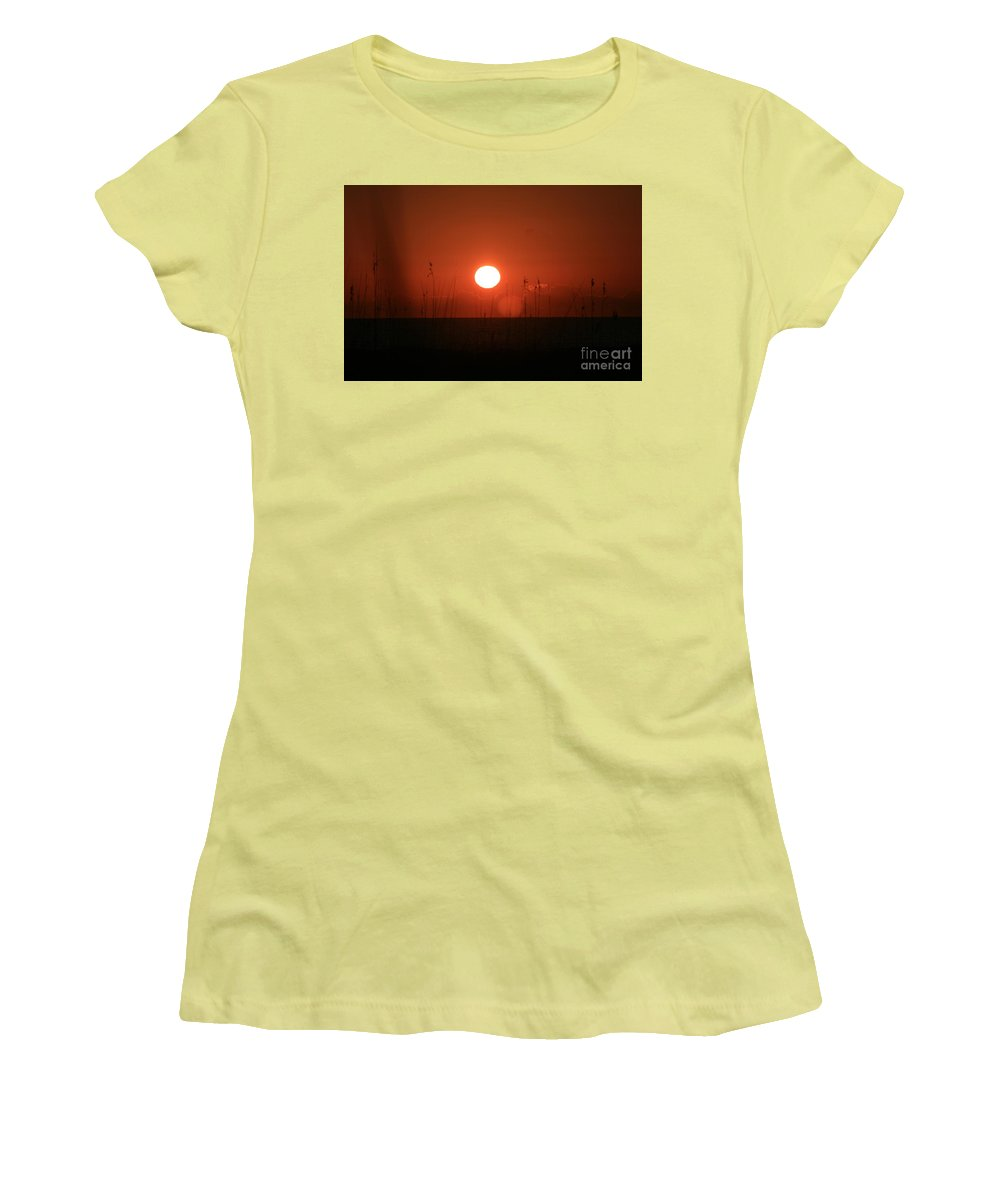 Sunset Women's T-Shirt (Athletic Fit) featuring the photograph Red Sunset And Grasses by Nadine Rippelmeyer