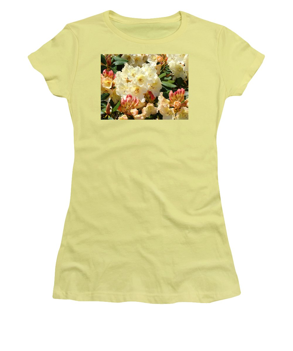 �azaleas Artwork� Women's T-Shirt (Athletic Fit) featuring the photograph Rhodies Creamy Yellow Orange 3 Rhododendrums Gardens Art Baslee Troutman by Baslee Troutman