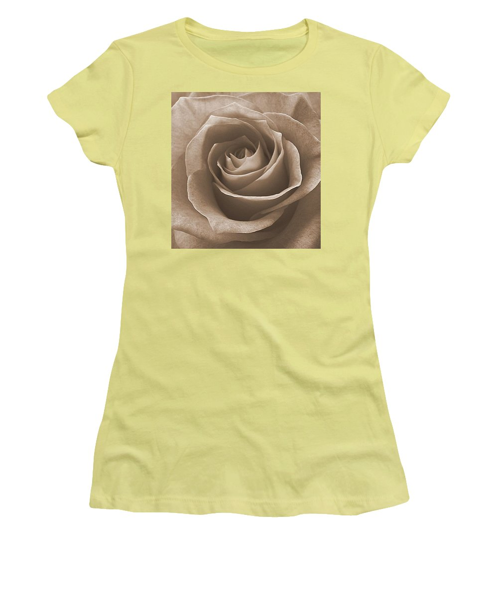 Rose Sepia Pedals Women's T-Shirt (Athletic Fit) featuring the photograph Rose In Sepia by Luciana Seymour