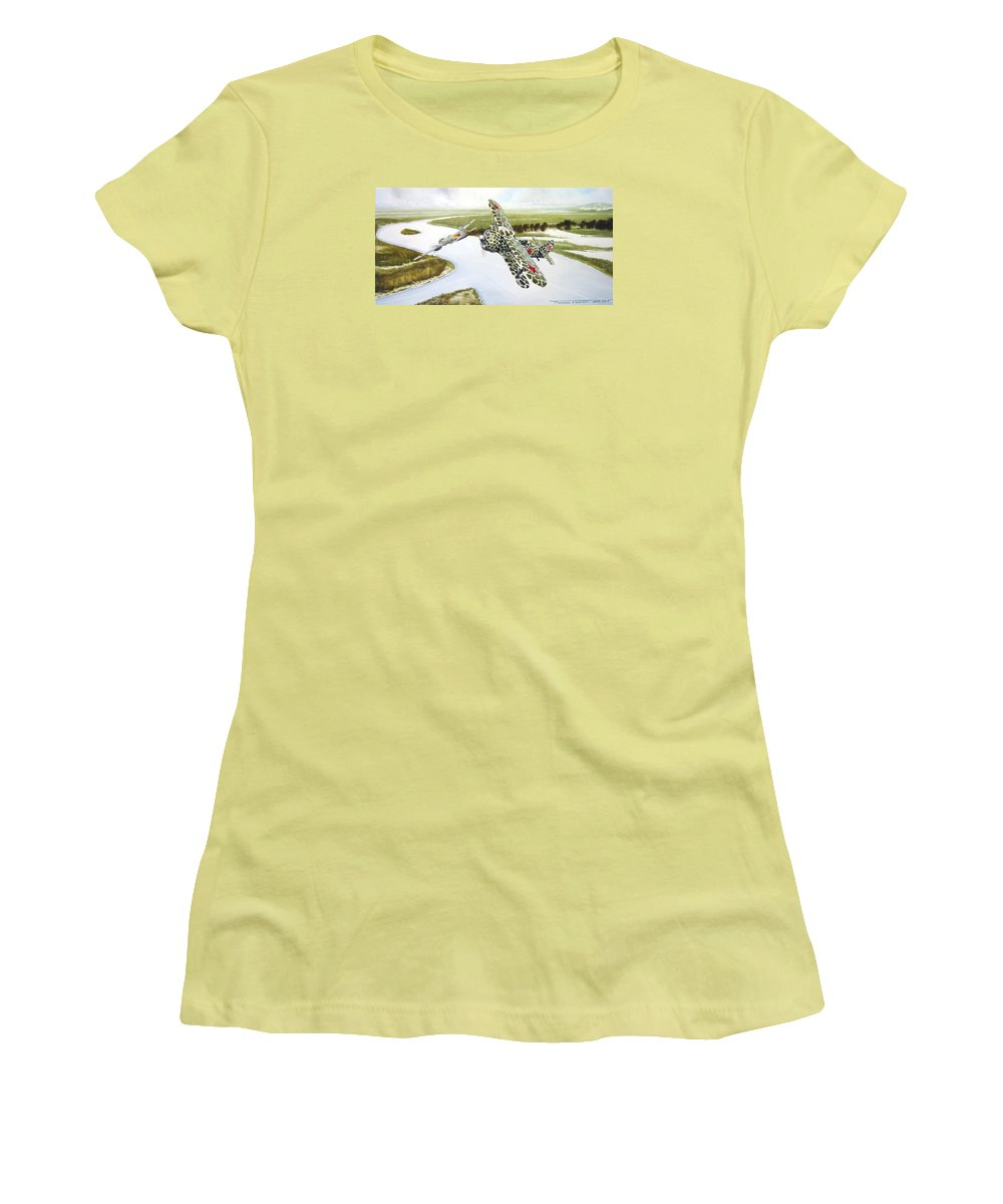 Aviation Women's T-Shirt (Athletic Fit) featuring the painting Russian Roulette by Marc Stewart