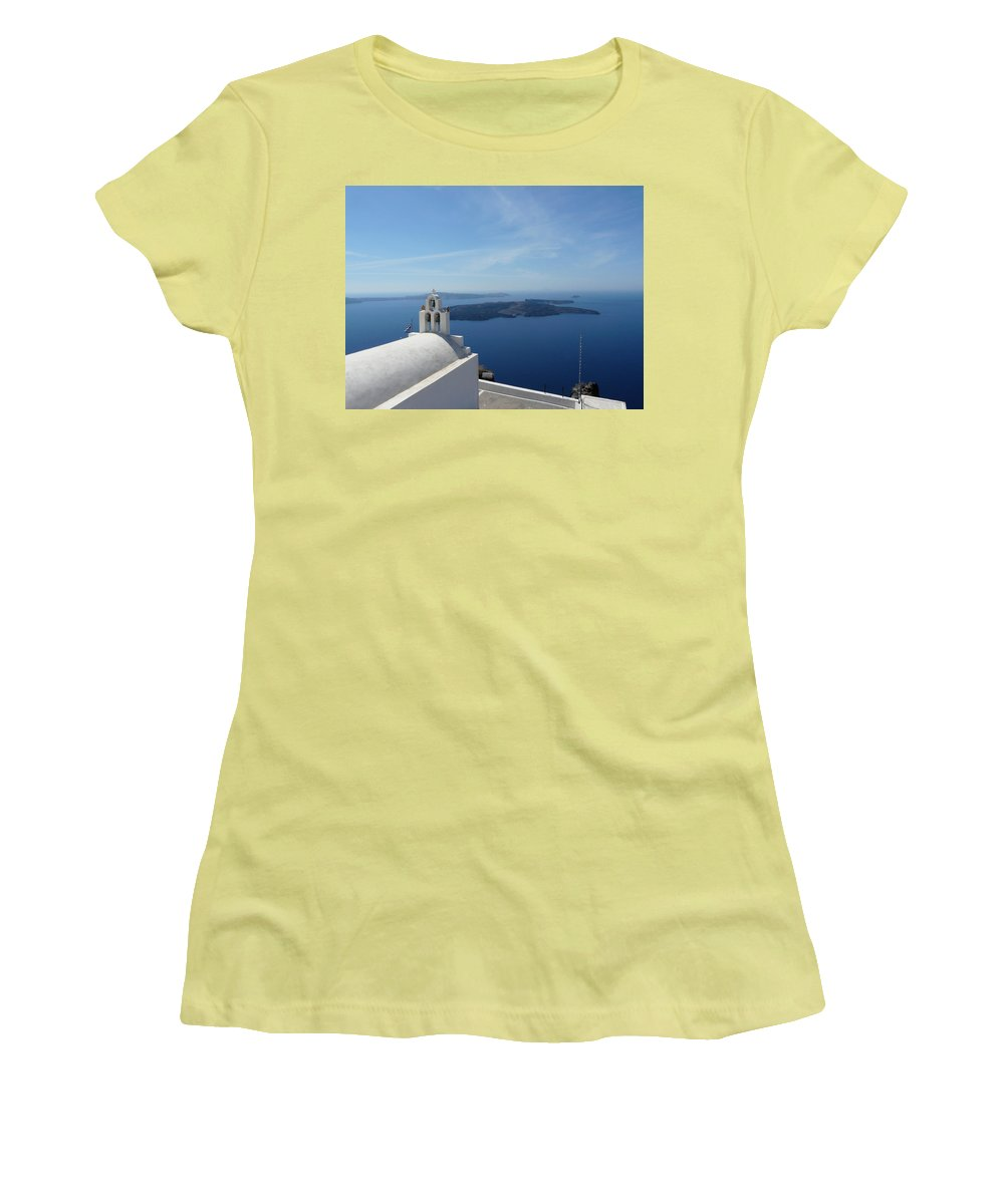 Landscape Women's T-Shirt (Athletic Fit) featuring the photograph Santorini Greece by Valerie Ornstein