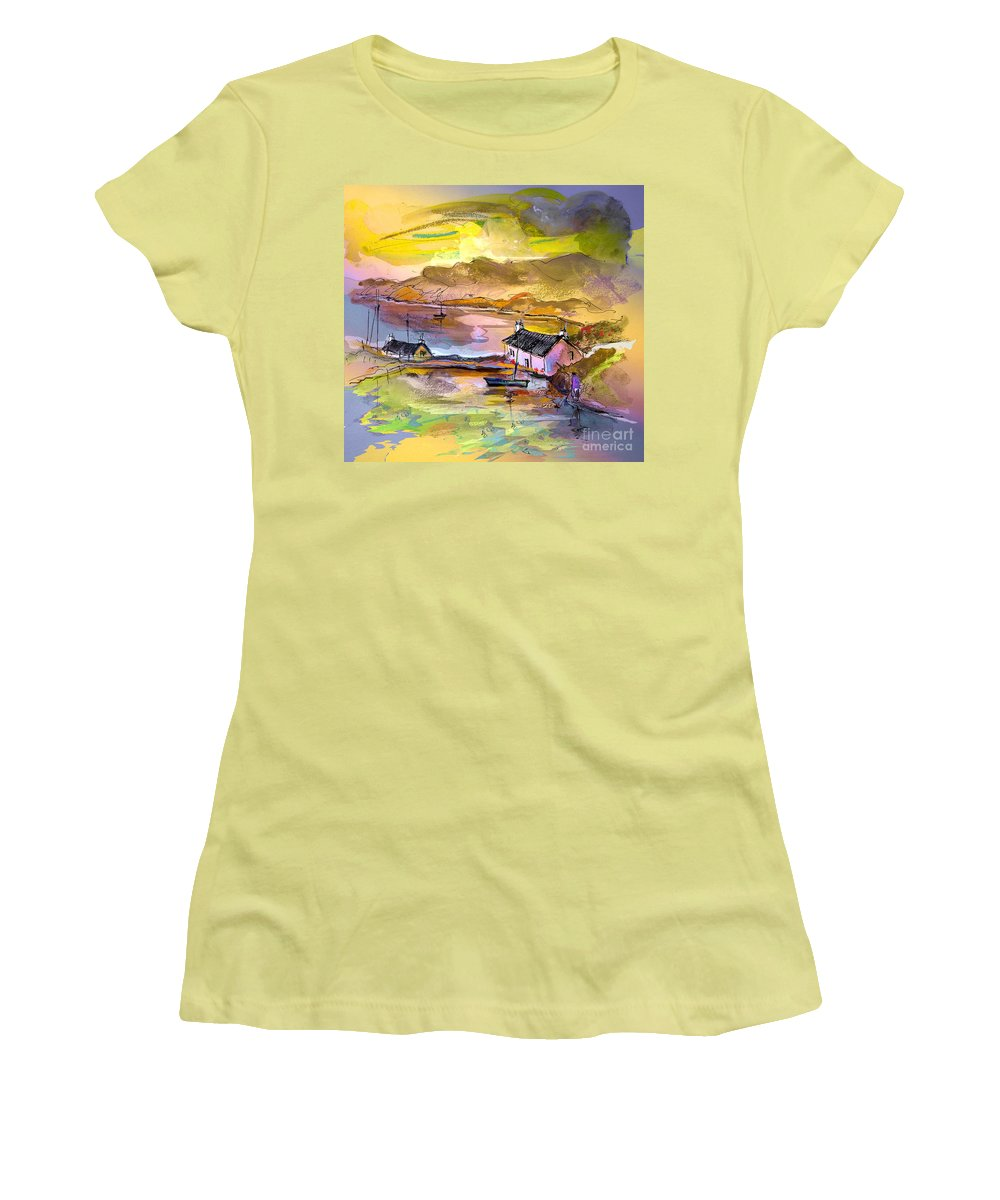 Scotland Paintings Women's T-Shirt (Athletic Fit) featuring the painting Scotland 11 by Miki De Goodaboom