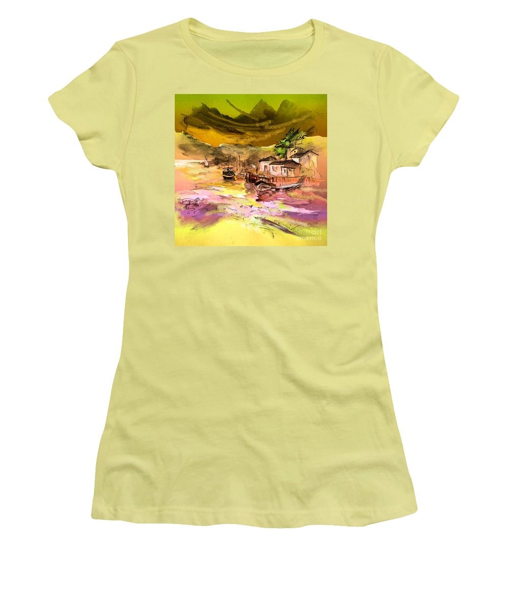 Scotland Paintings Women's T-Shirt (Athletic Fit) featuring the painting Scotland 14 by Miki De Goodaboom