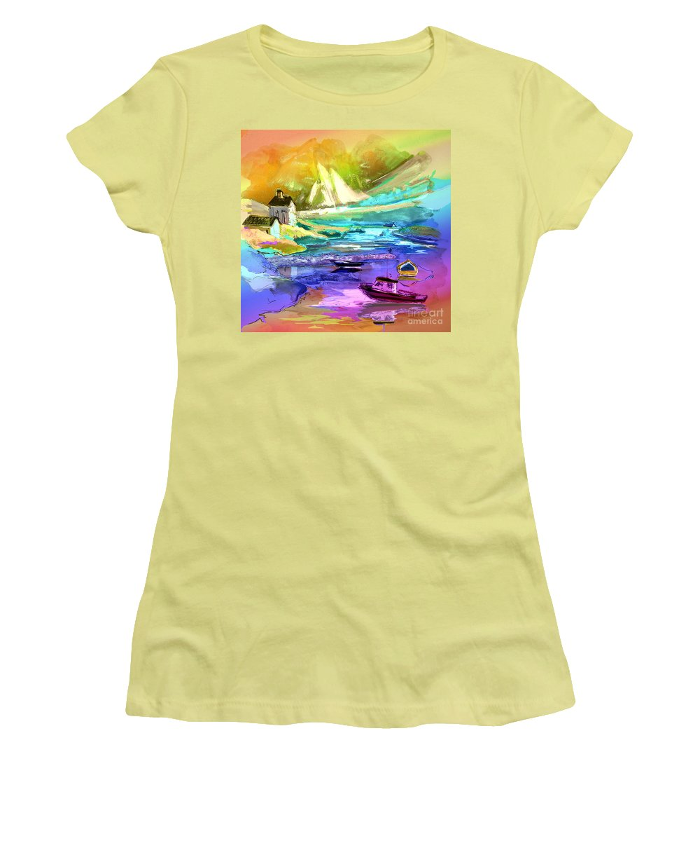 Scotland Paintings Women's T-Shirt (Athletic Fit) featuring the painting Scotland 15 by Miki De Goodaboom