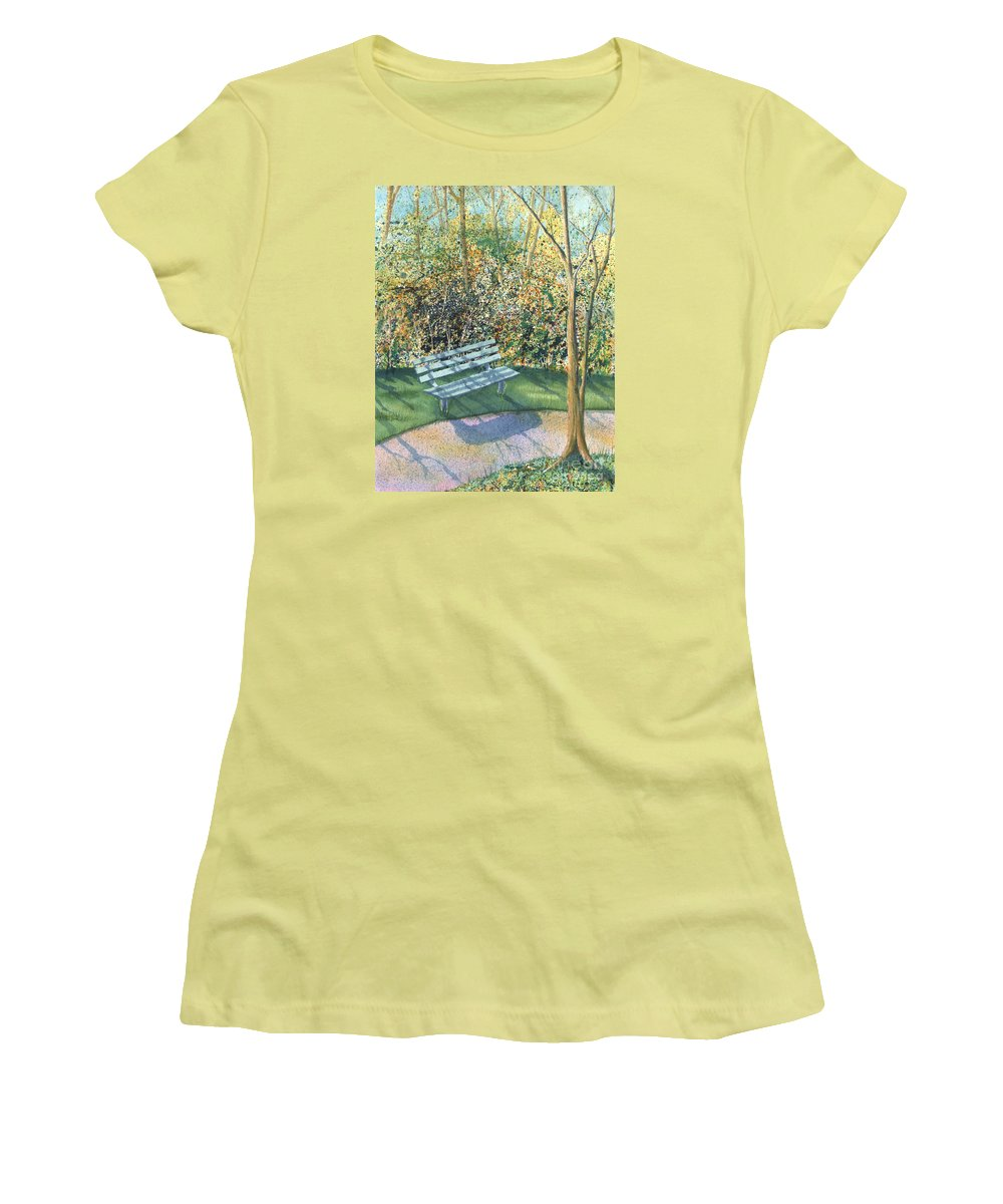 Autumn Trees Women's T-Shirt (Athletic Fit) featuring the painting September Afternoon by Lynn Quinn