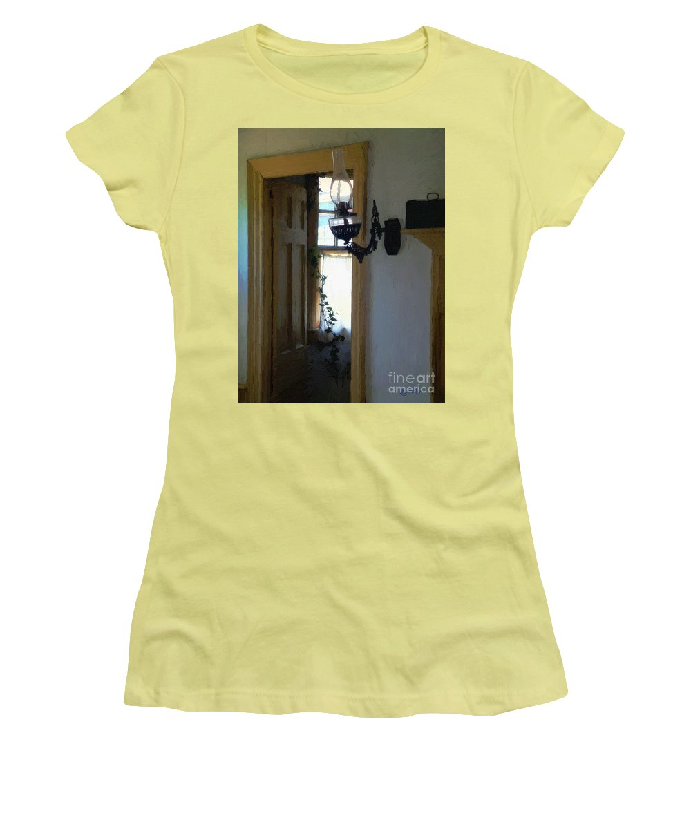 Americana Women's T-Shirt (Athletic Fit) featuring the painting Sitting Room Doorway by RC deWinter