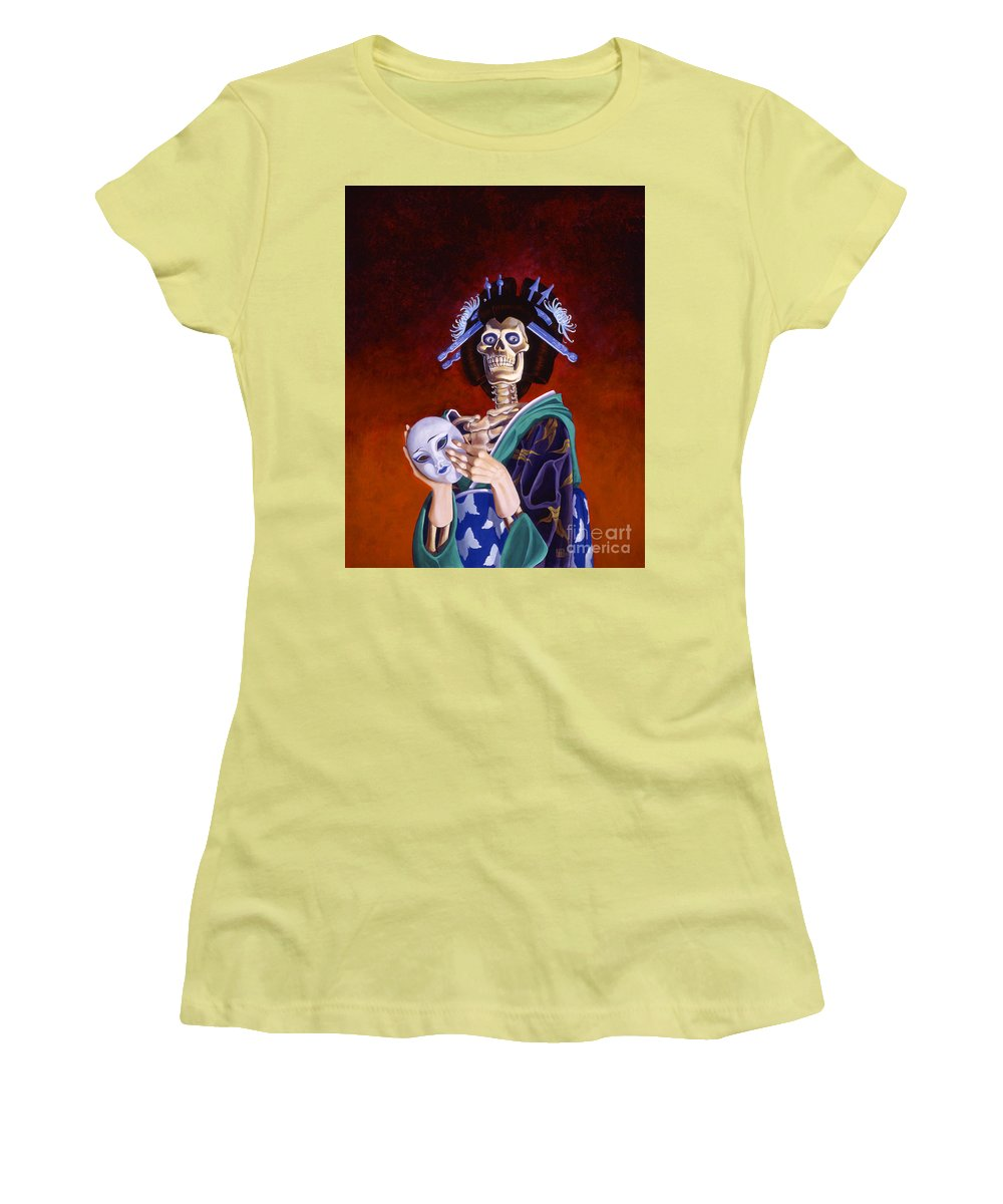Skeleton Women's T-Shirt (Athletic Fit) featuring the painting Skeletal Geisha With Mask by Melissa A Benson